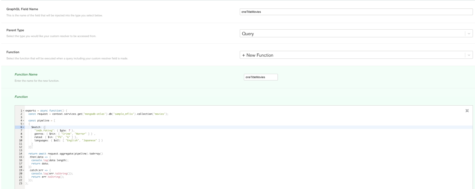 Screenshot of the Custom Resolver editor in Realm UI
