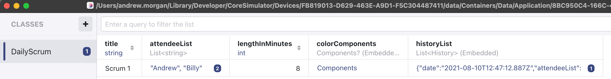 DailyScrum data shown in RealmStudio