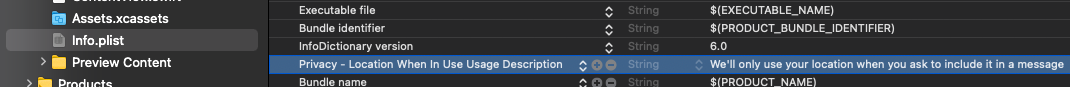 Screenshot from Xcode showing the key-value pair for requesting permission for the app to access the user's location