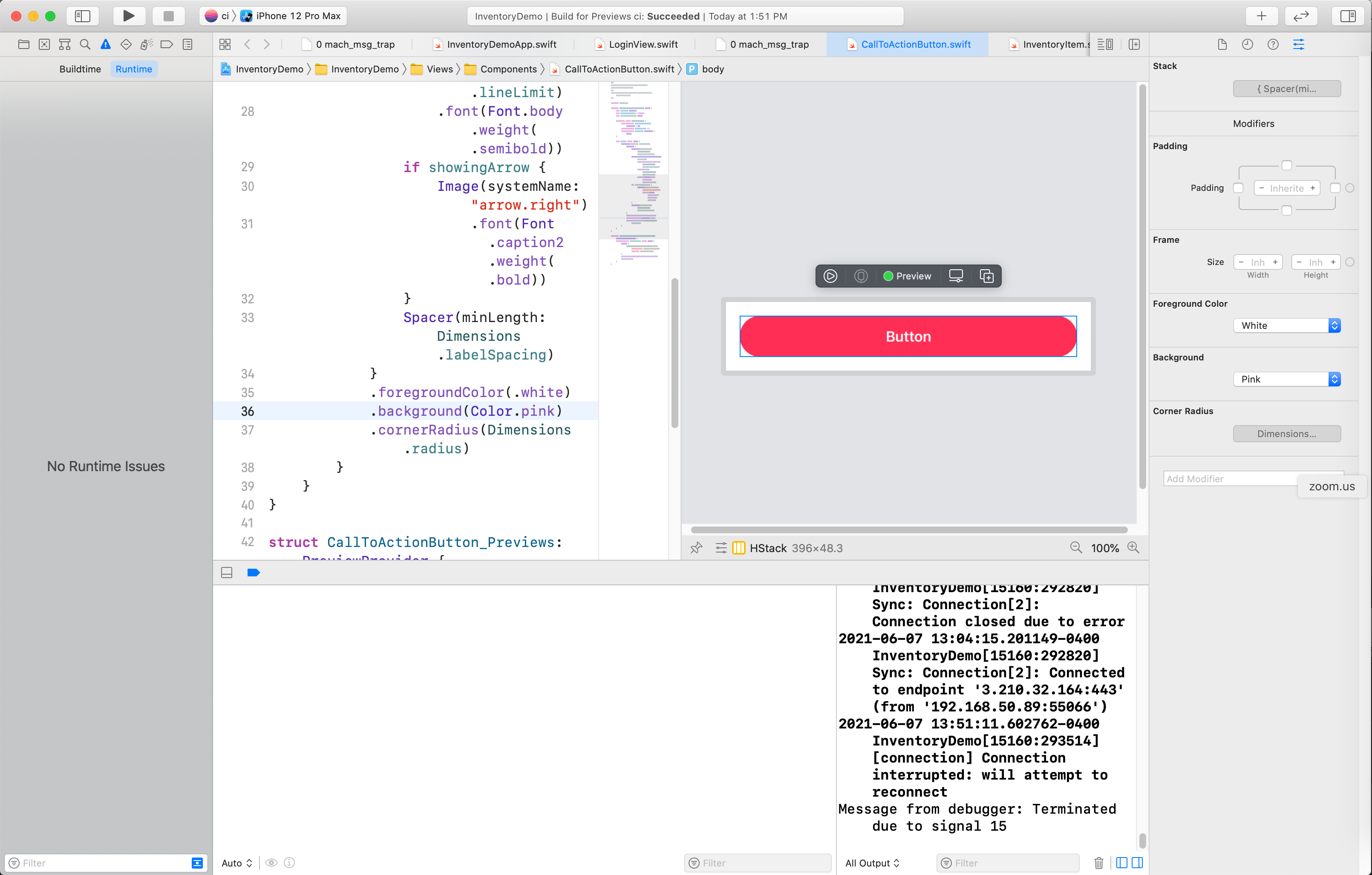 Updating the button color in Xcode