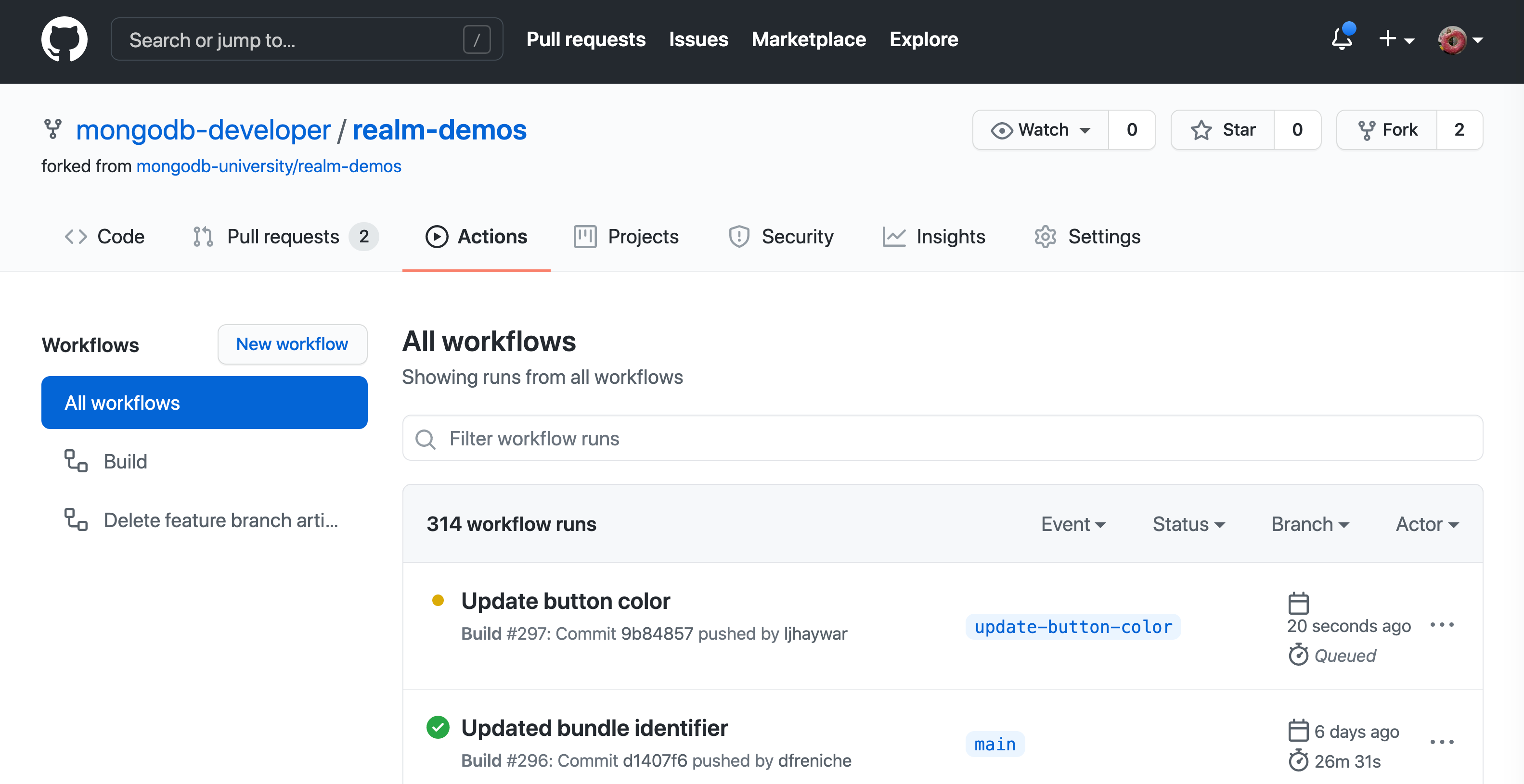 Screenshot of the GitHub Actions web interface after a push to a feature branch triggers a workflow