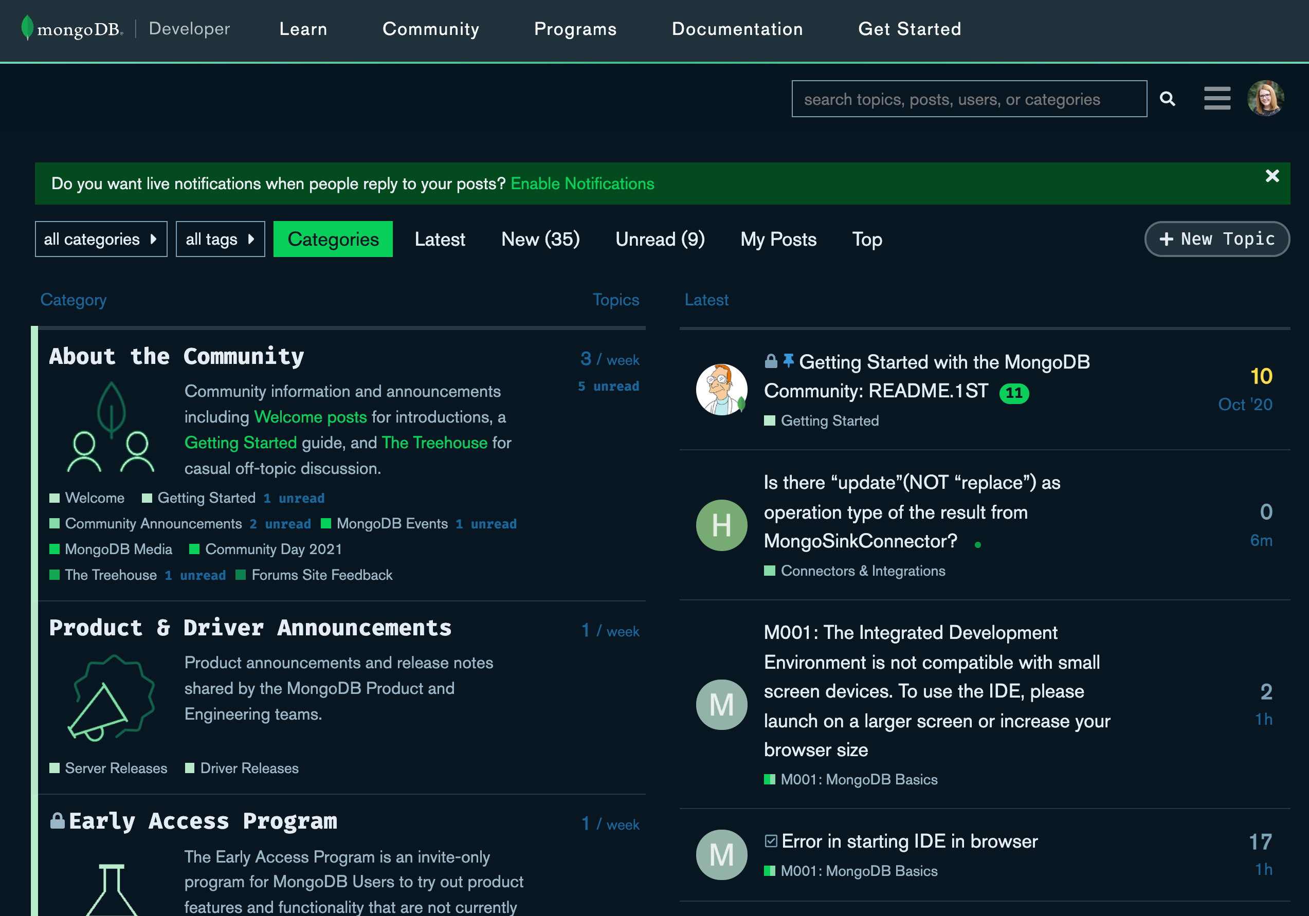 Screenshot of the front page of the MongoDB Community