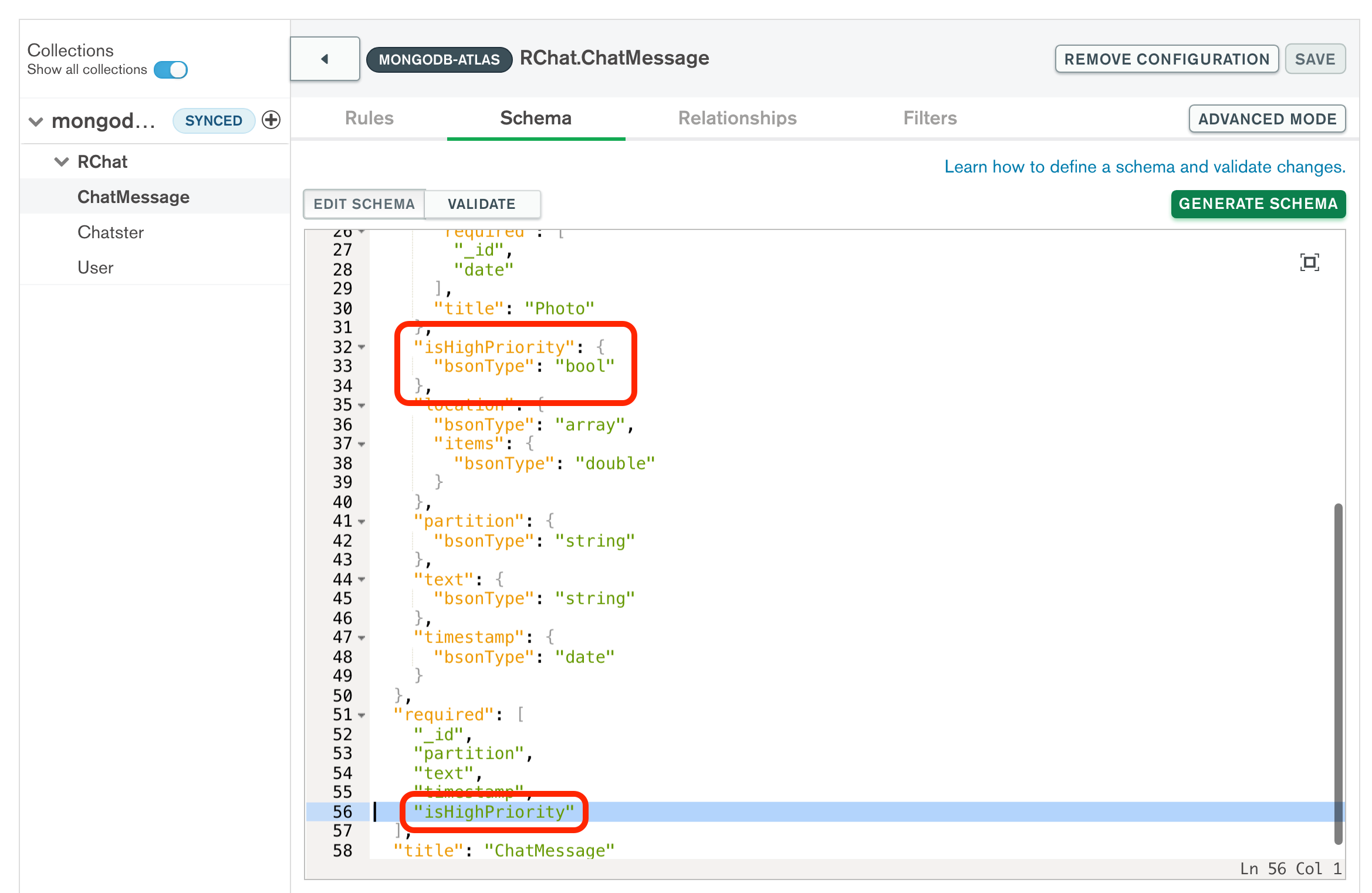 Screenshot from the RealmUI showing that the isHighPriority bool has been added to the schema