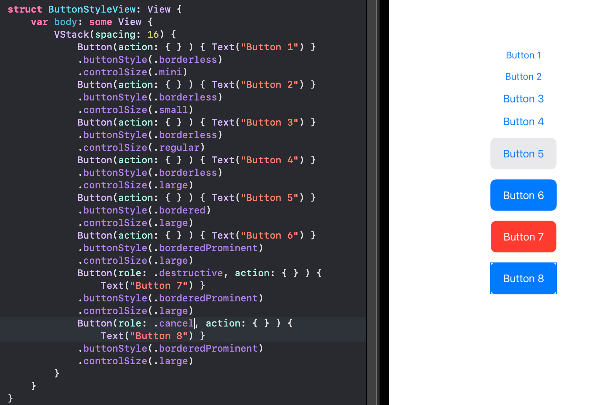 Xcode. Showing button source code and the associated previews