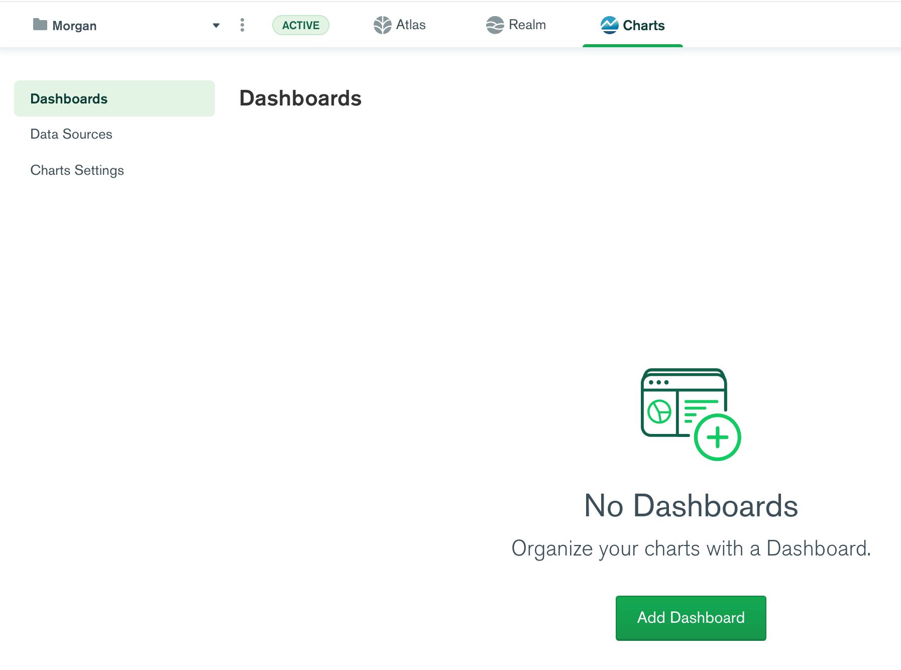 Charts screen capture of adding a new dashboard