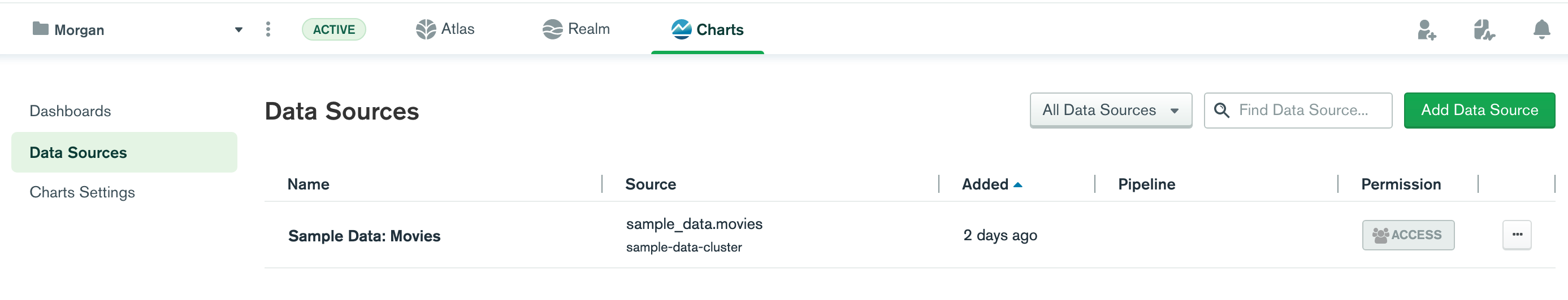 Charts screen capture of adding a new data source