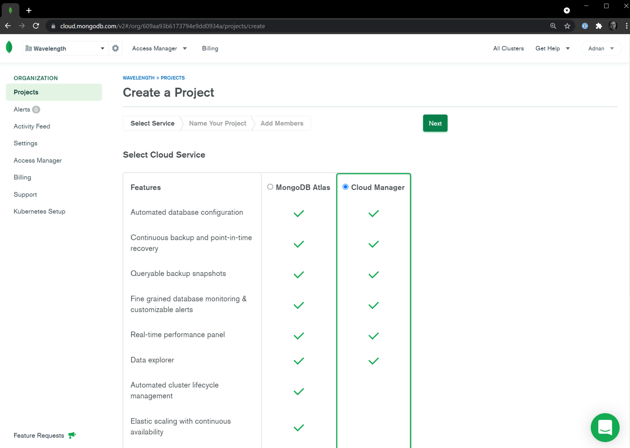Selecting Cloud Manager on Atlas