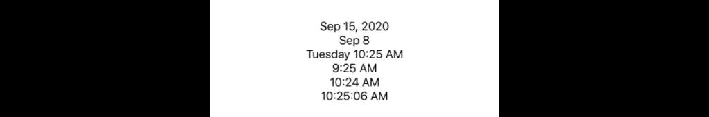 Screen capture of dates rendered in various formatt