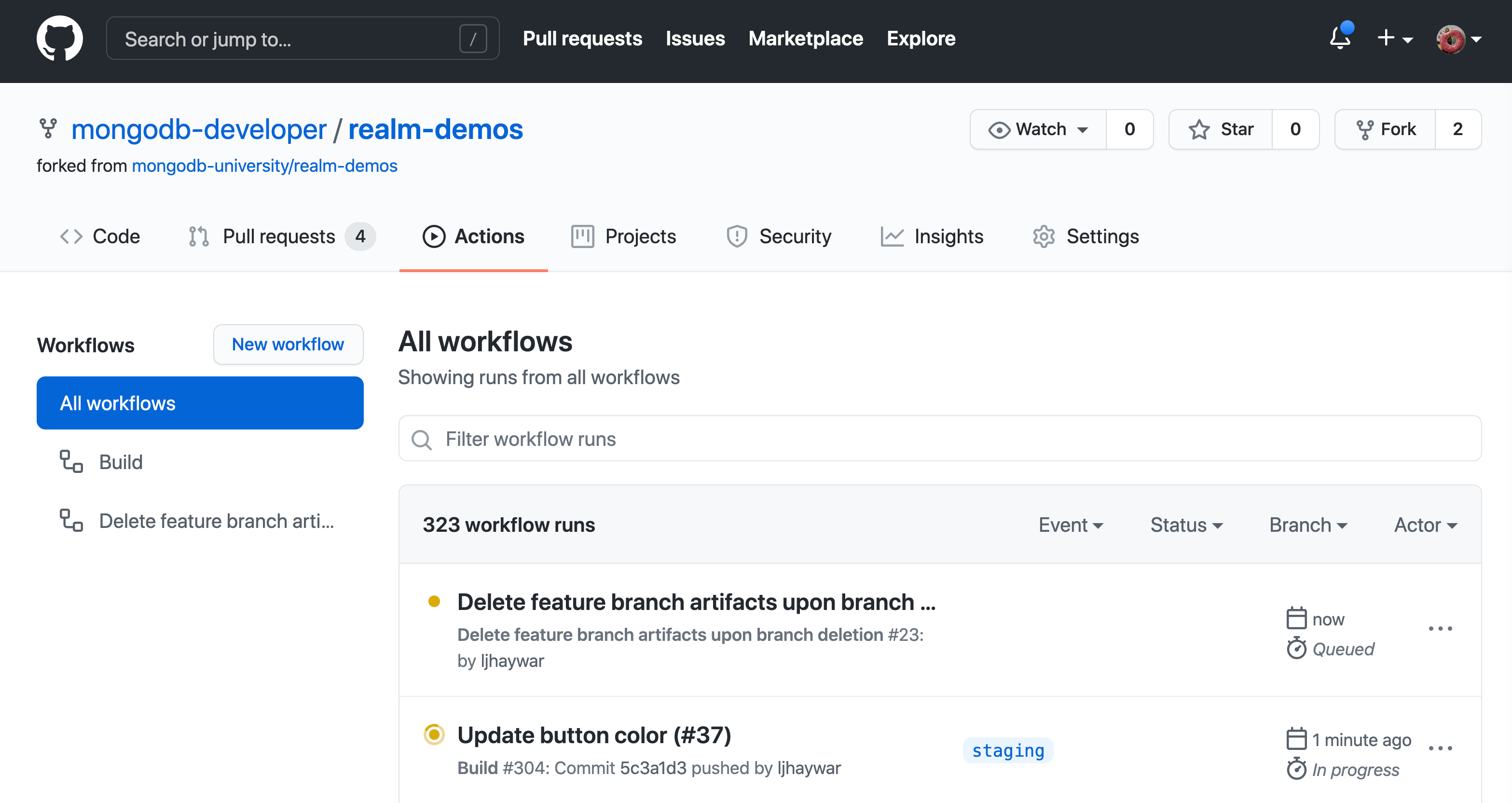 Screenshot of the GitHub Actions web interface after deleting a branch triggers a workflow
