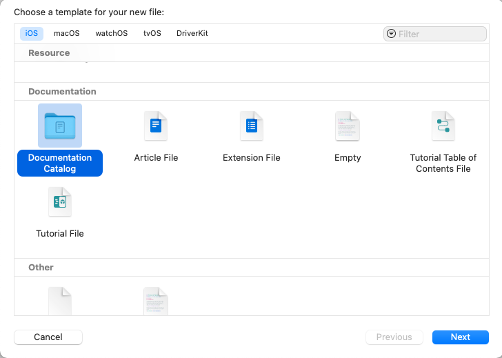 """Xcode """"Choose a template for your new file"""" window opened with """"Documentation Catalog"""" selected"""