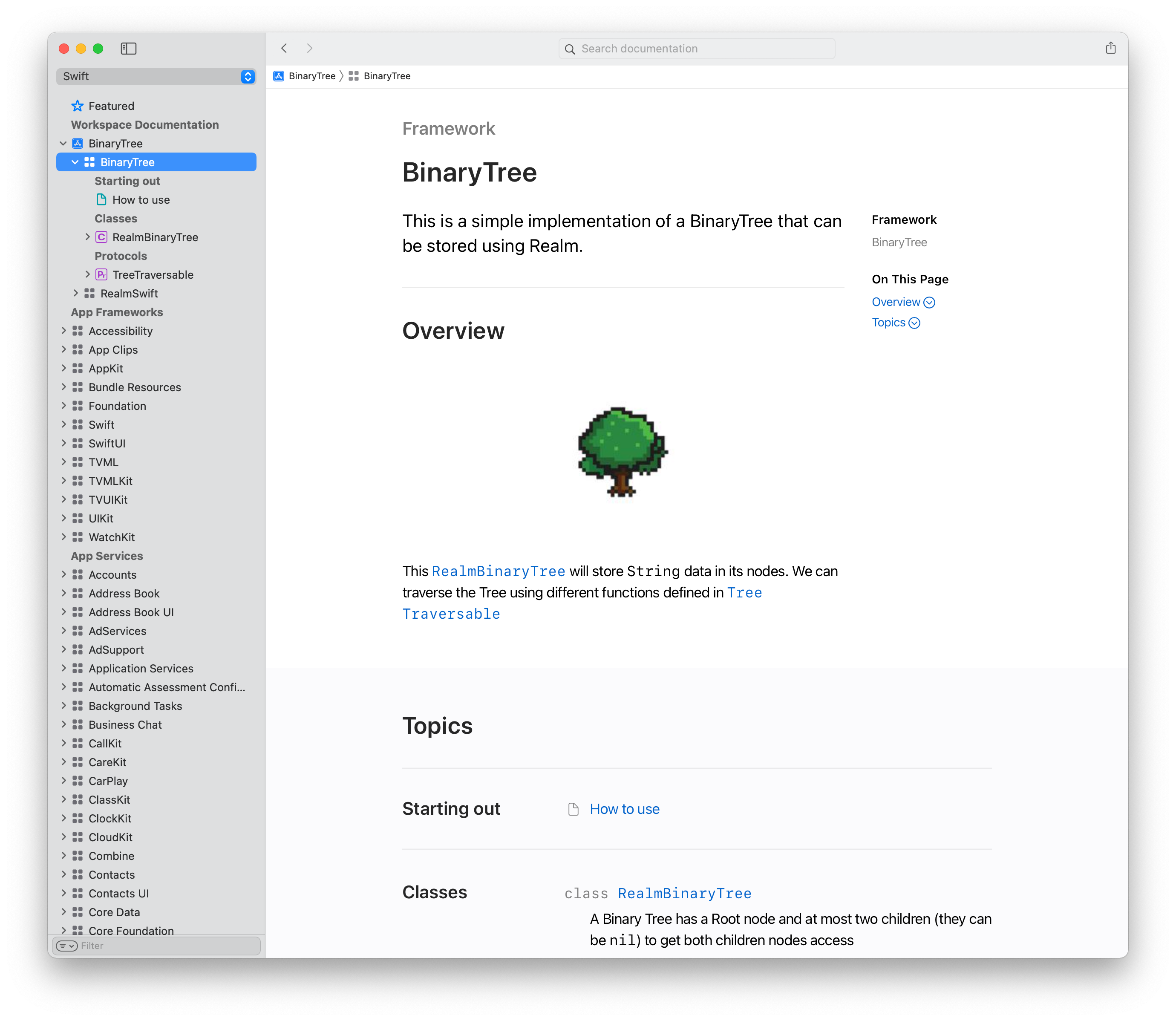 Documentation Browser showing the BinaryTree main page with an image of a tree, in pixel art style