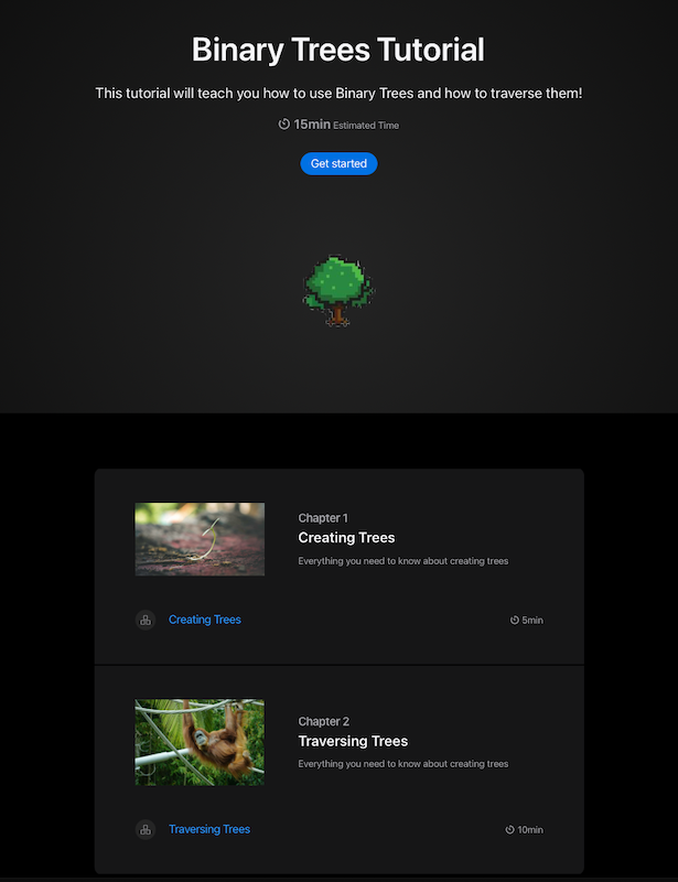 Tutorial main page showing a header with a pixel art tree image and two Articles at the bottom.