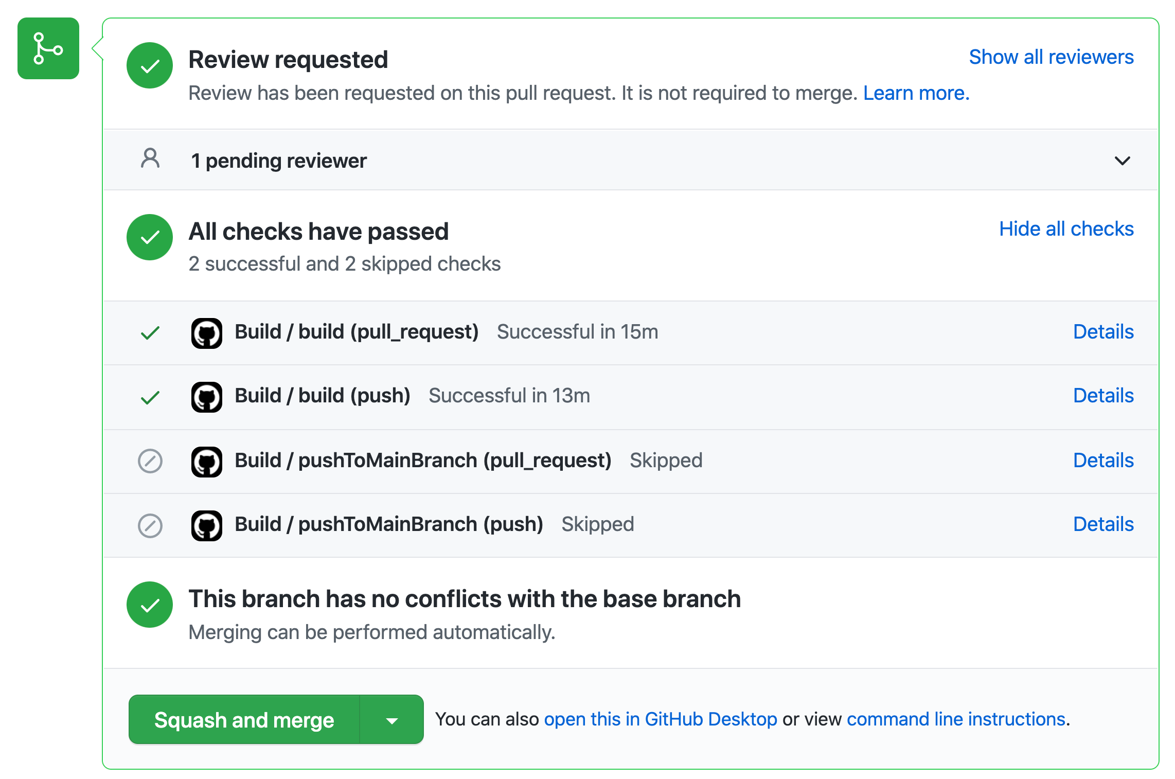 """""""Screenshot of the workflow results in the pull request"""