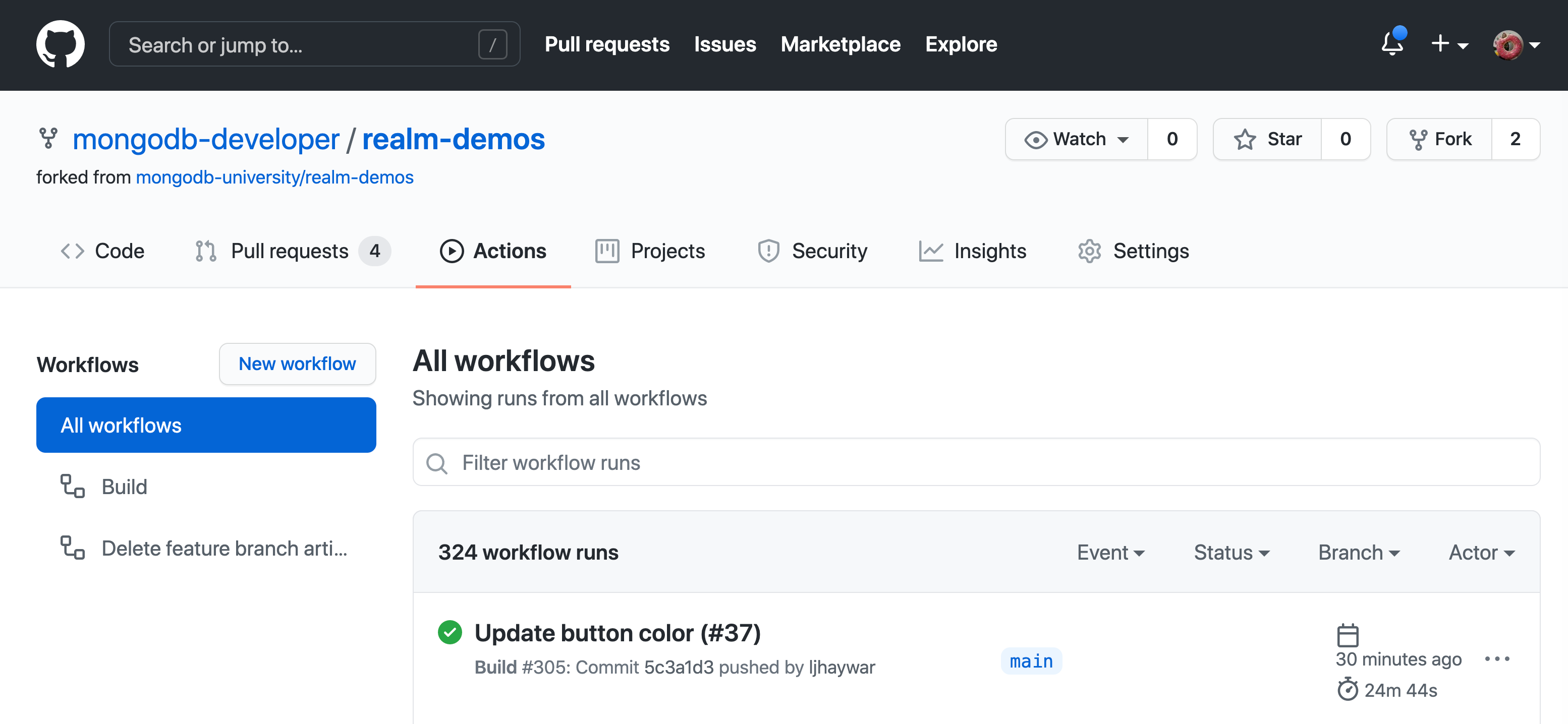 Screenshot of the GitHub Actions web interface after a push to the 'main' branch triggers a workflow