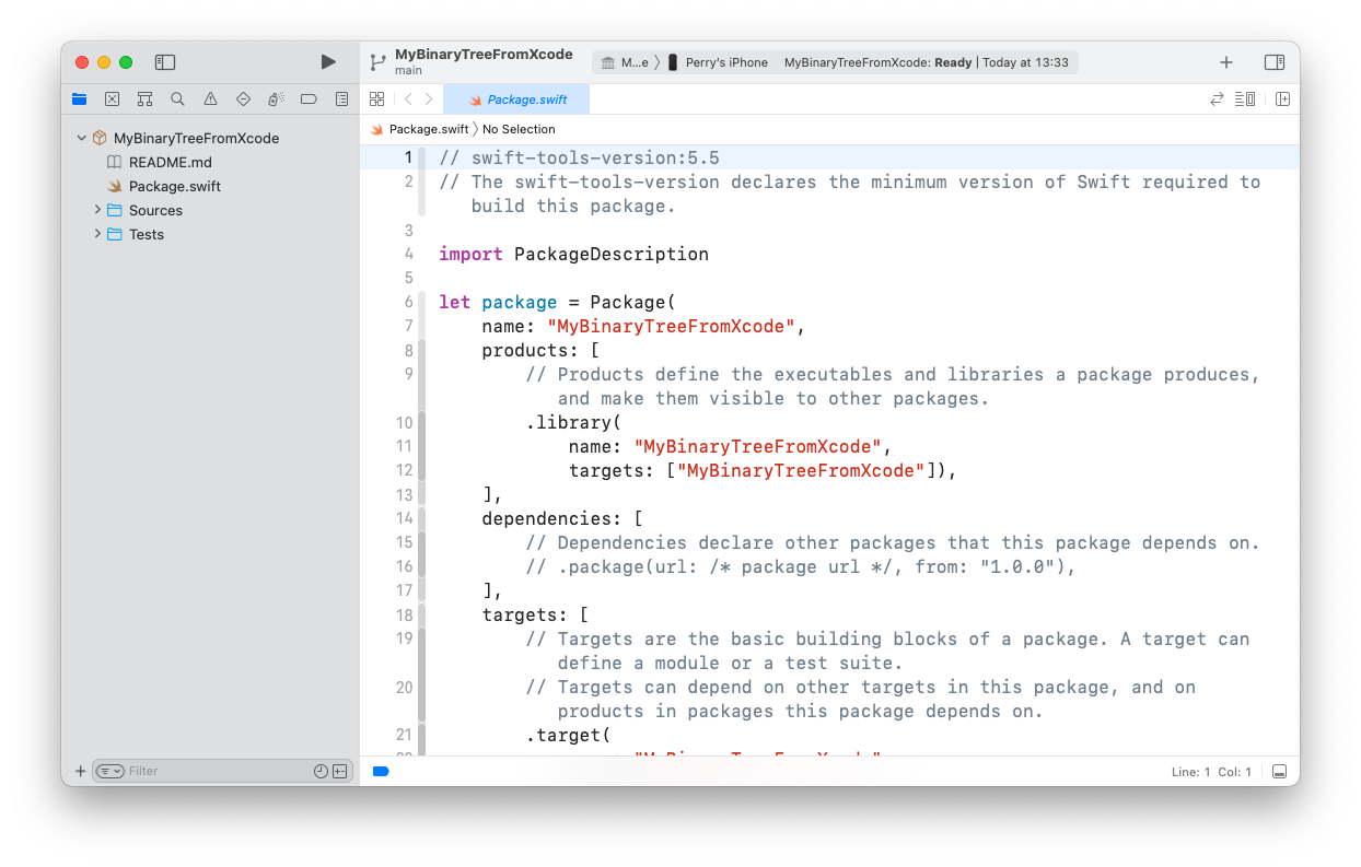 Xcode showing the newly created Package.swift