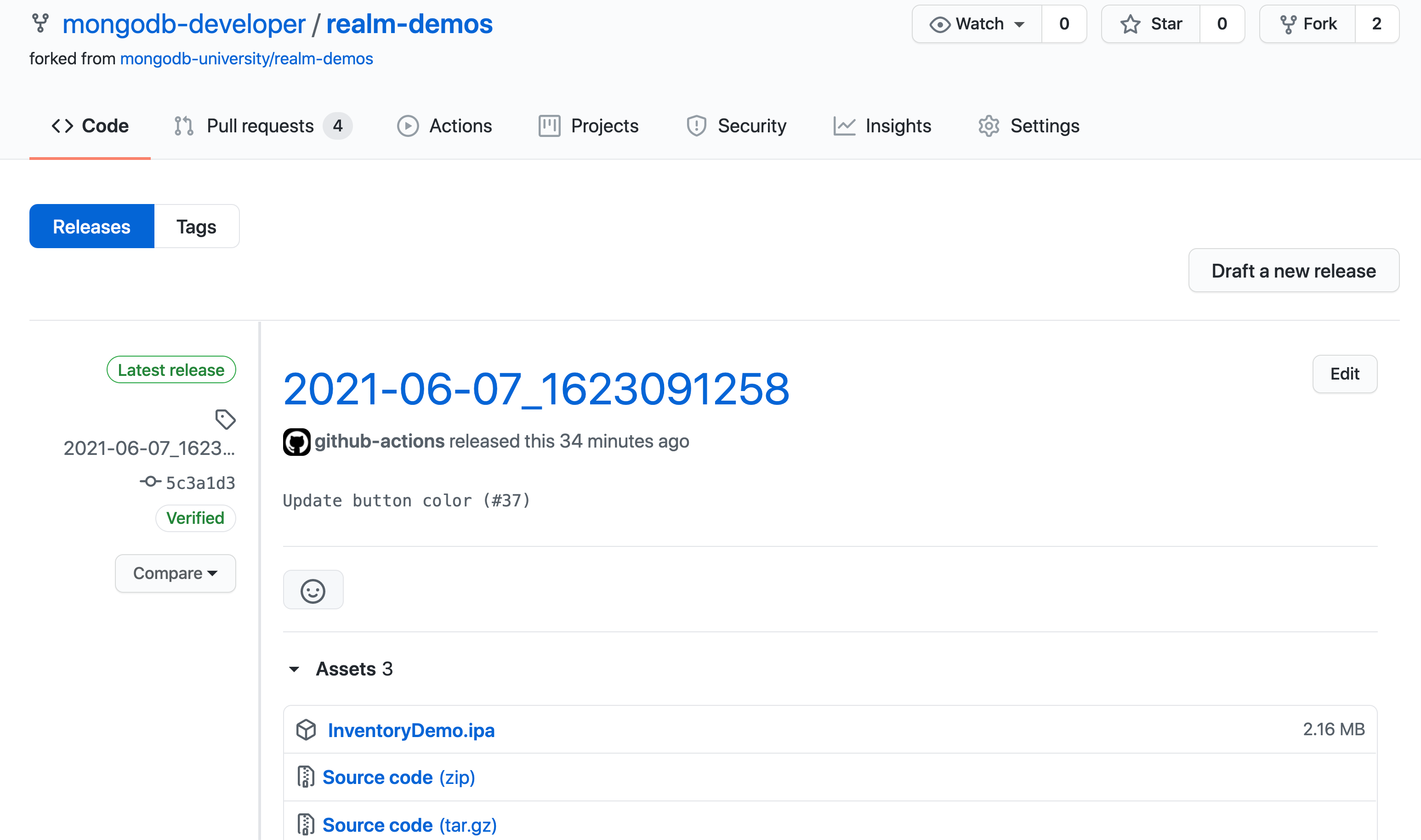 Screenshot of a GitHub release that contains a mobile app archive