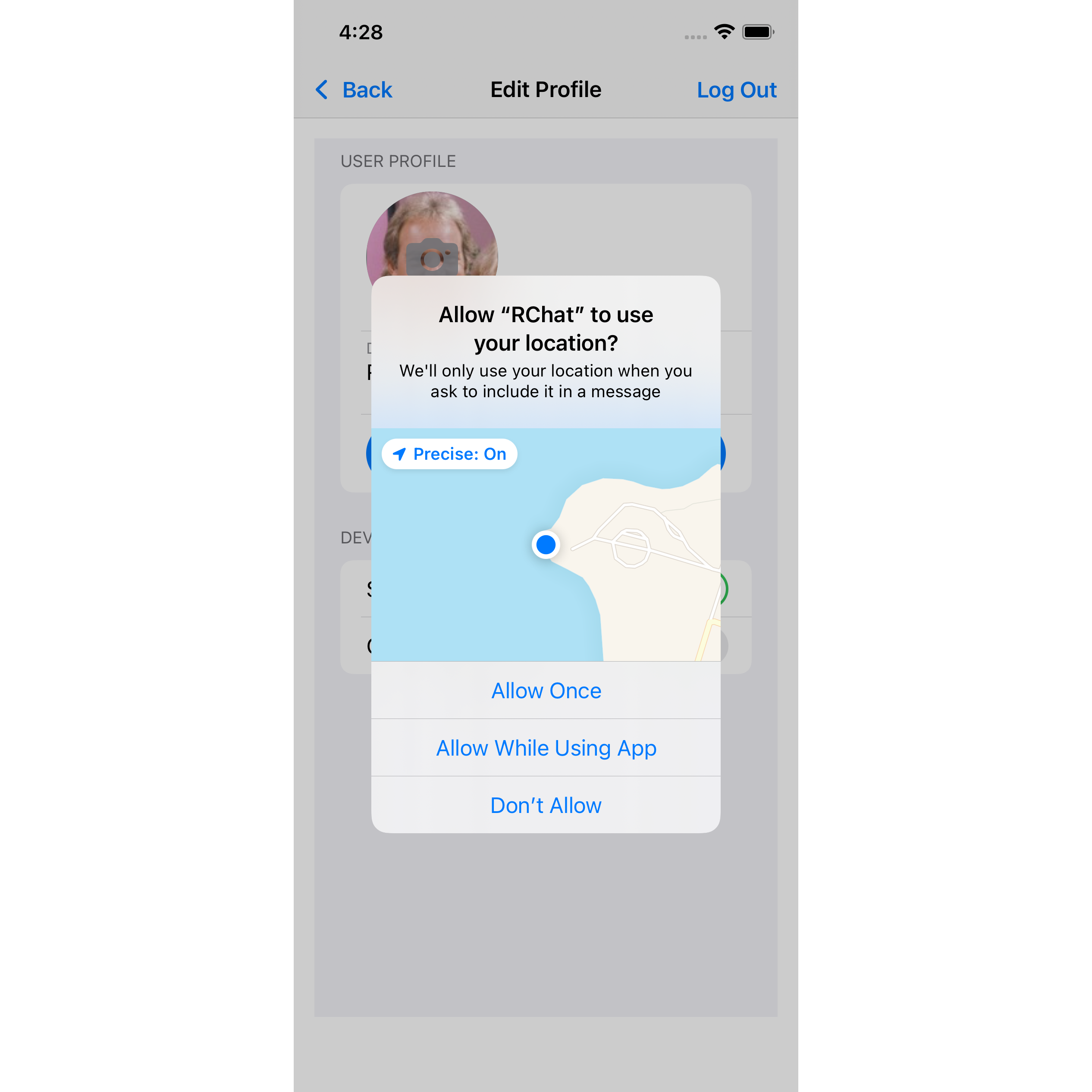iPhone screenshot – app is requesting permission to access the user's location