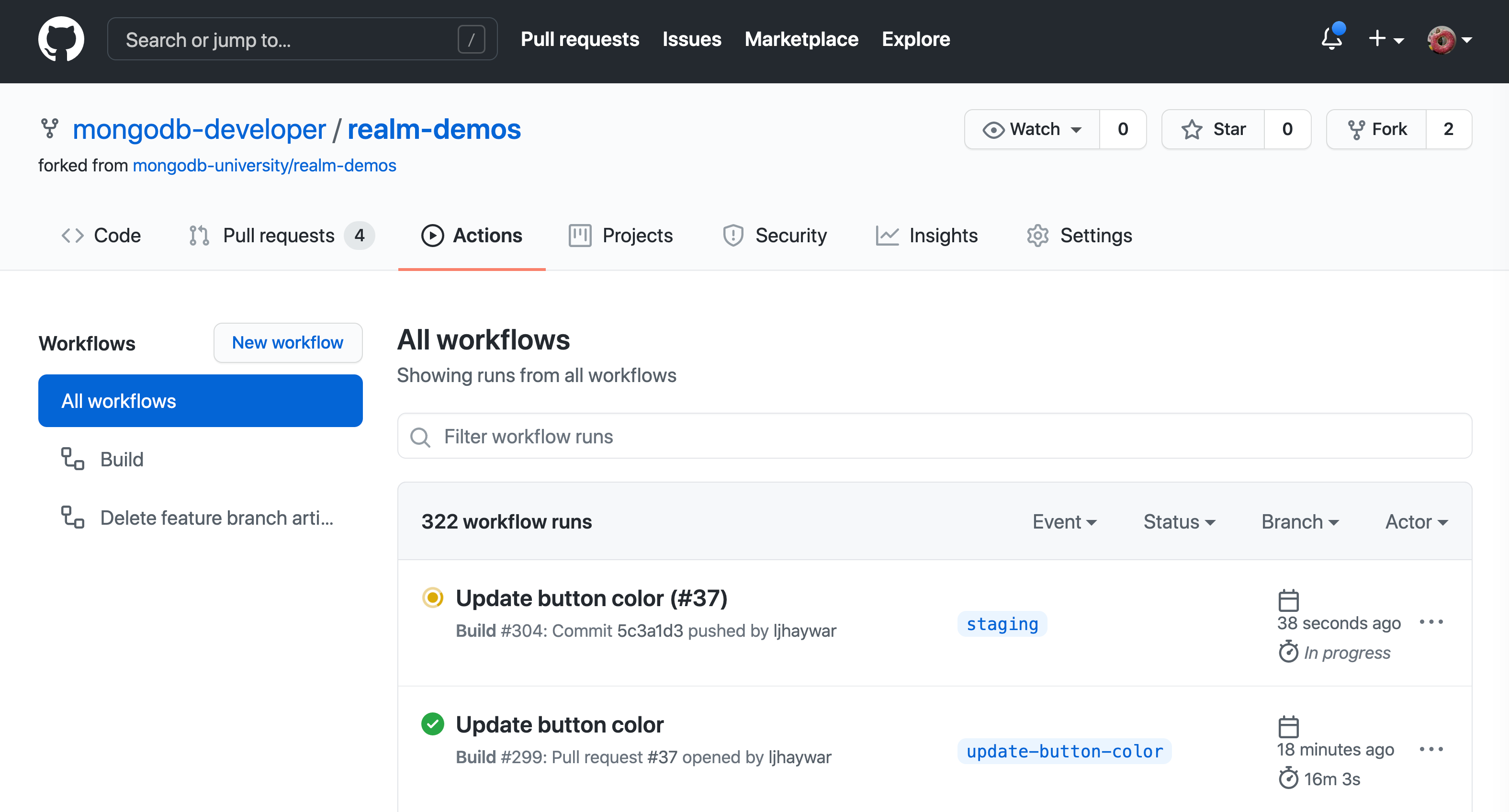 Screenshot of the GitHub Actions web interface after a push to the 'staging' branch triggers a workflow